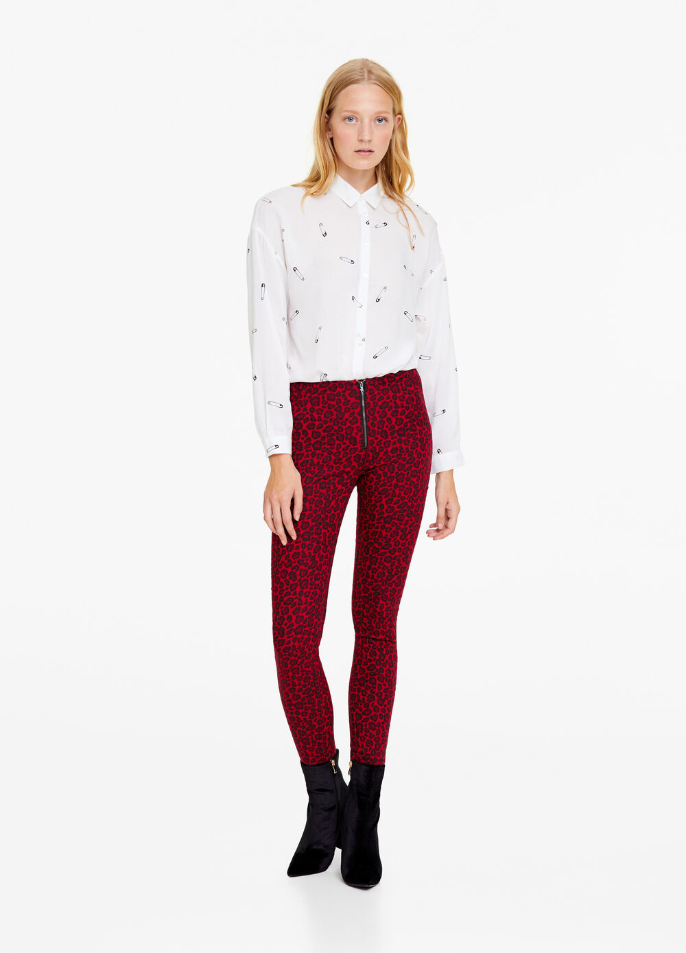 Cotton blend patterned trousers