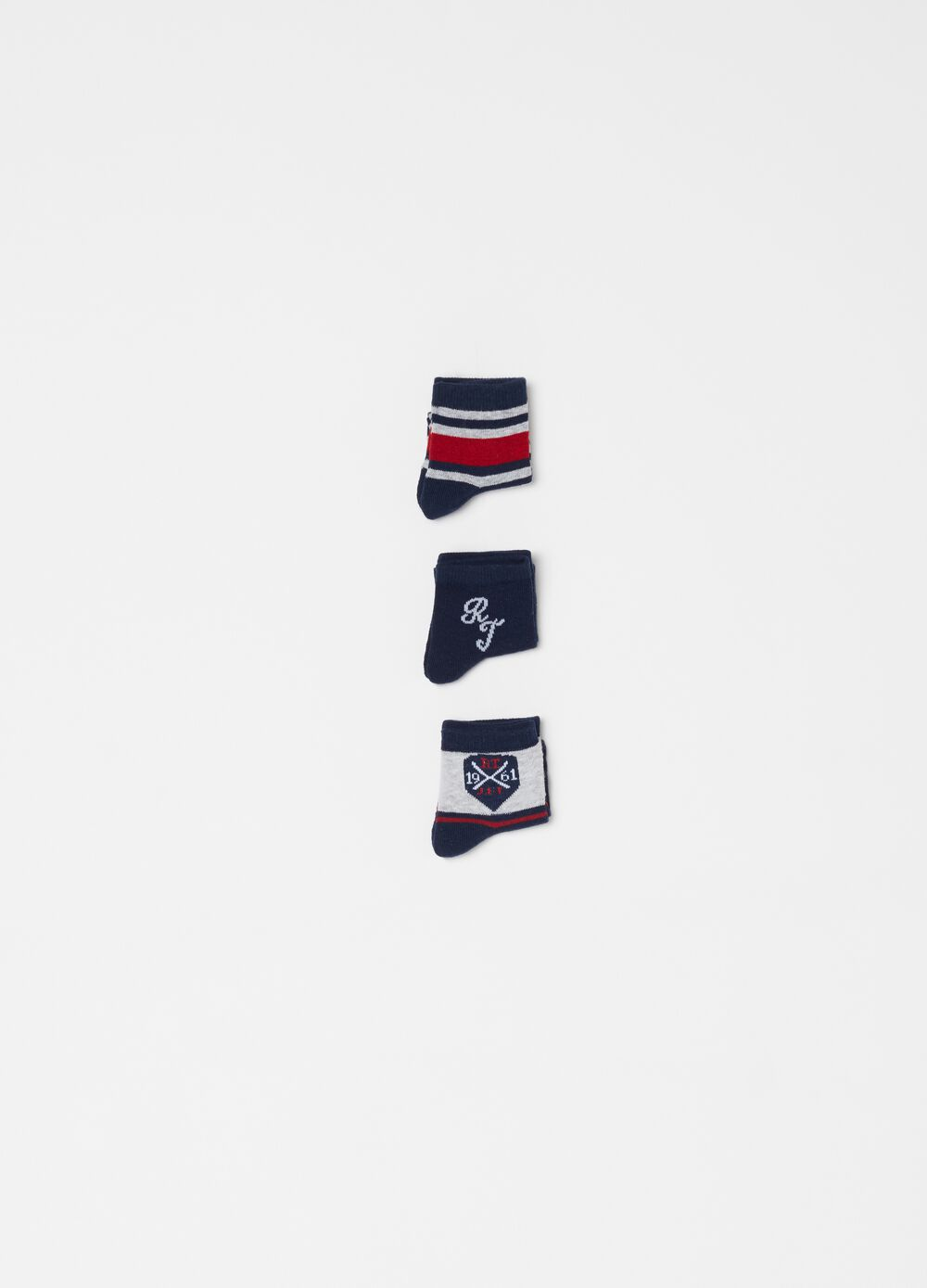 Three-pack short stretch socks with striped embroidery