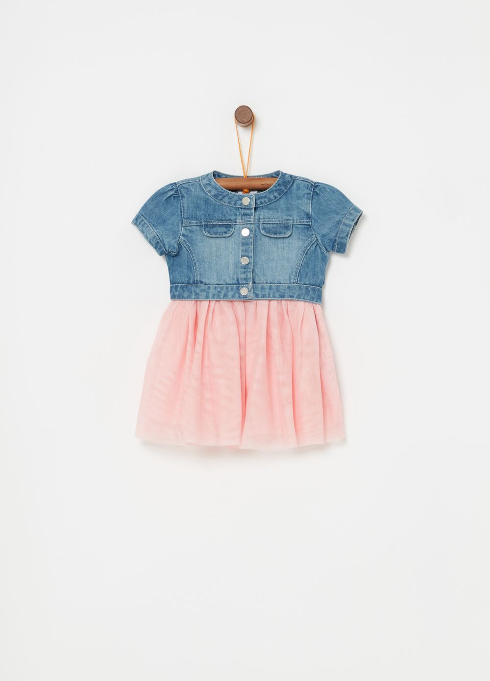 Dress in denim with short sleeves.