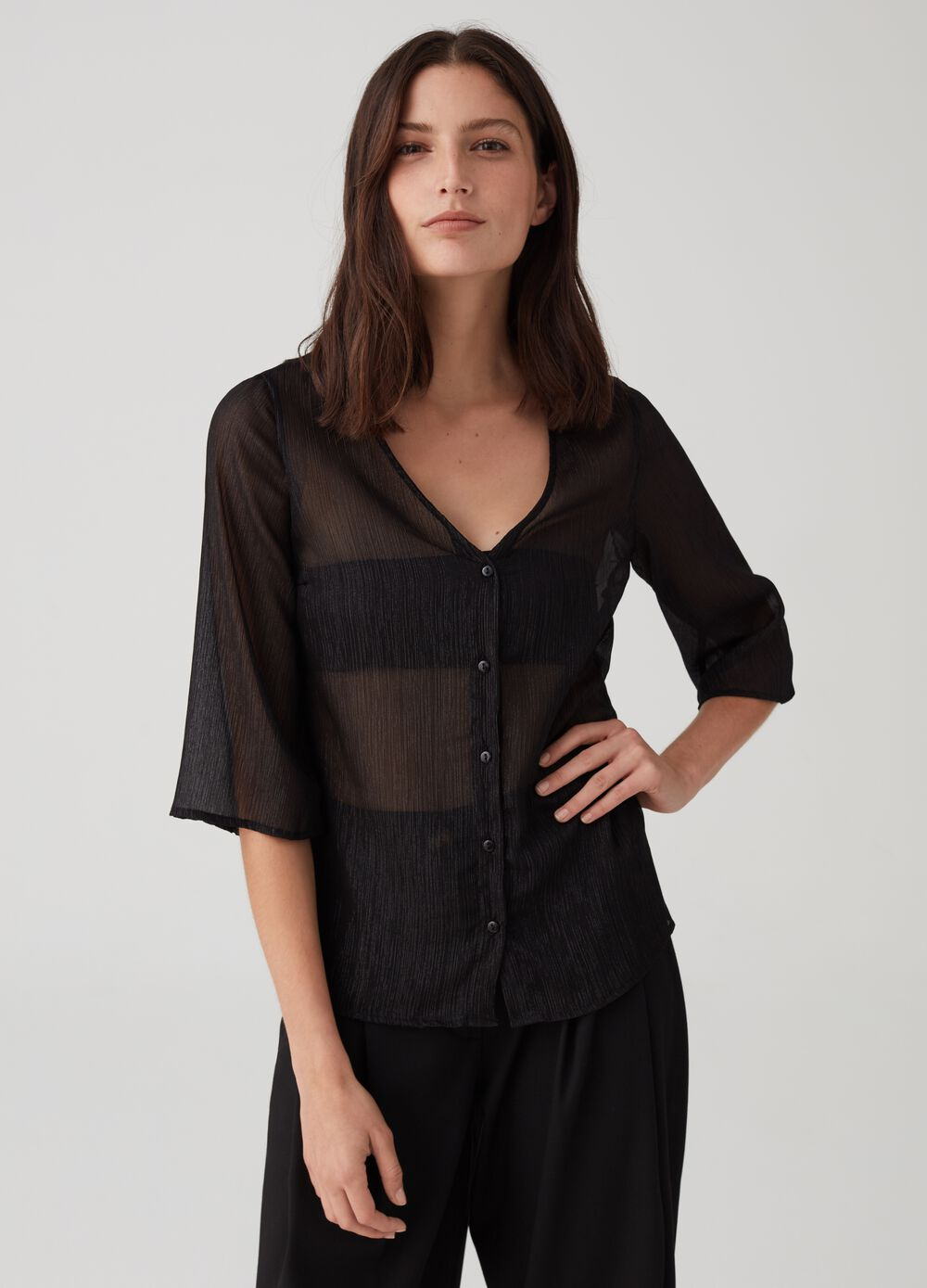 V-neck semi-sheer shirt