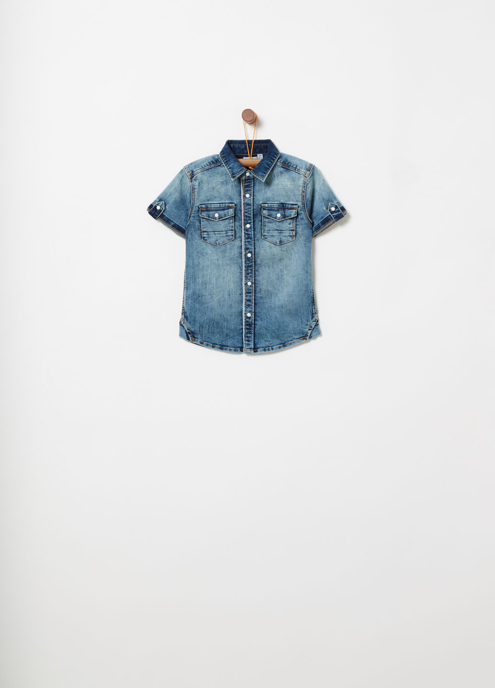 Stretch washed-effect denim shirt