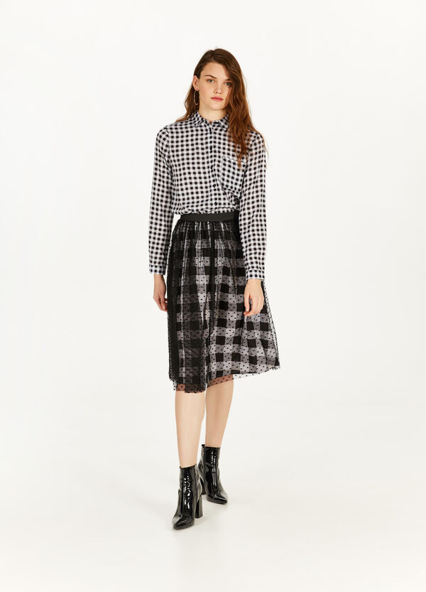 Check longuette skirt with tulle