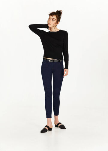 Skinny-fit stretch jeans with stitching