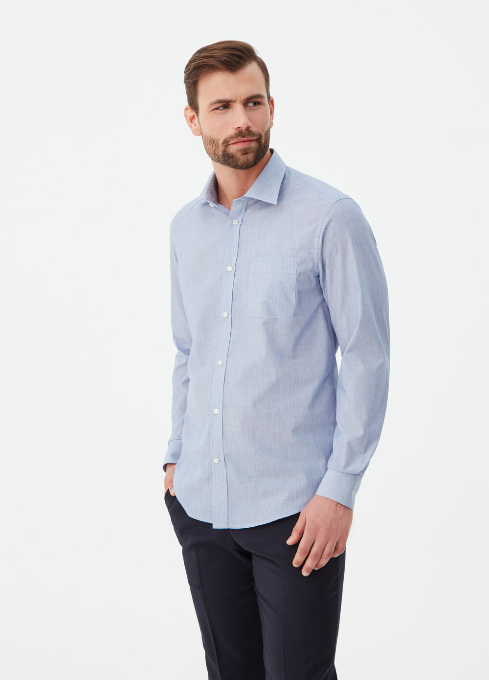 Regular-fit shirt with pocket and stripes