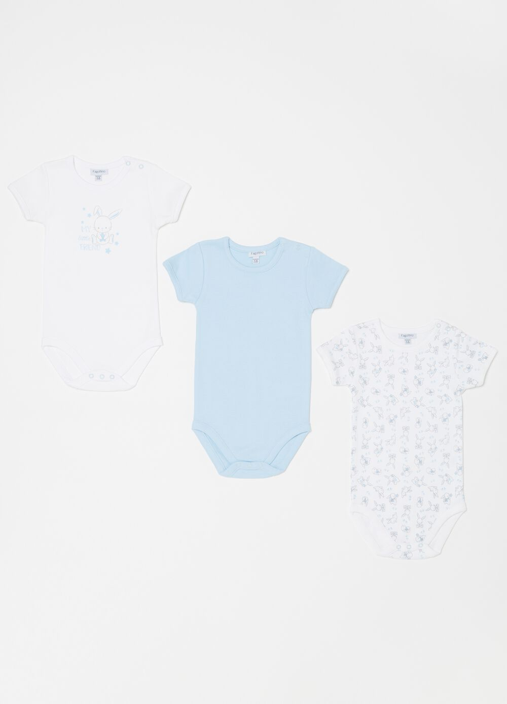 Three-pack biocotton bodysuits with rabbits