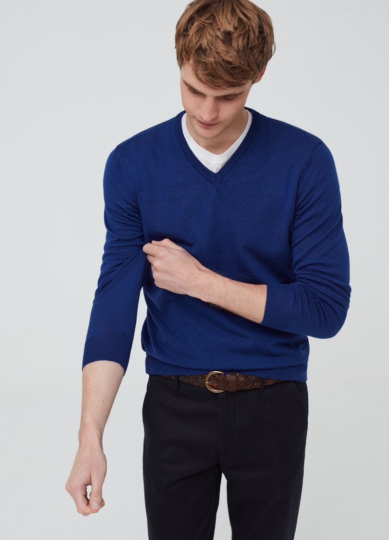 PIOMBO pullover in 100% merino wool image number null