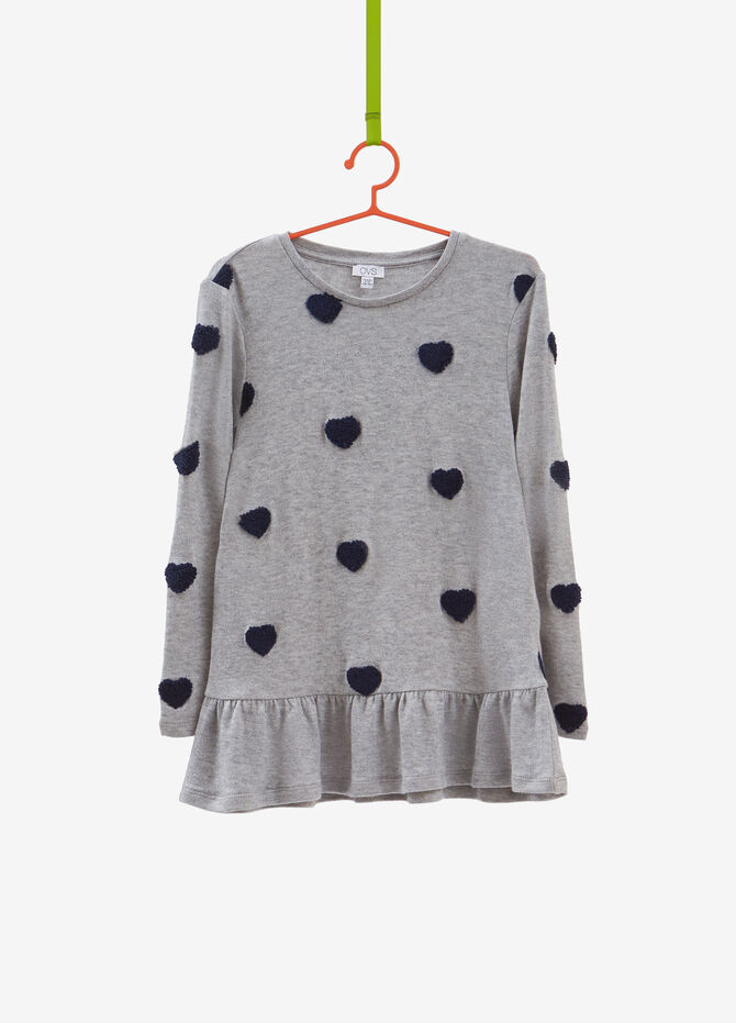Pullover with heart patches and peplum