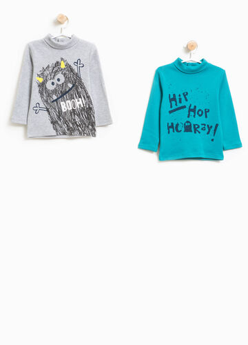 Two-pack turtleneck jumper with lettering and monster prints