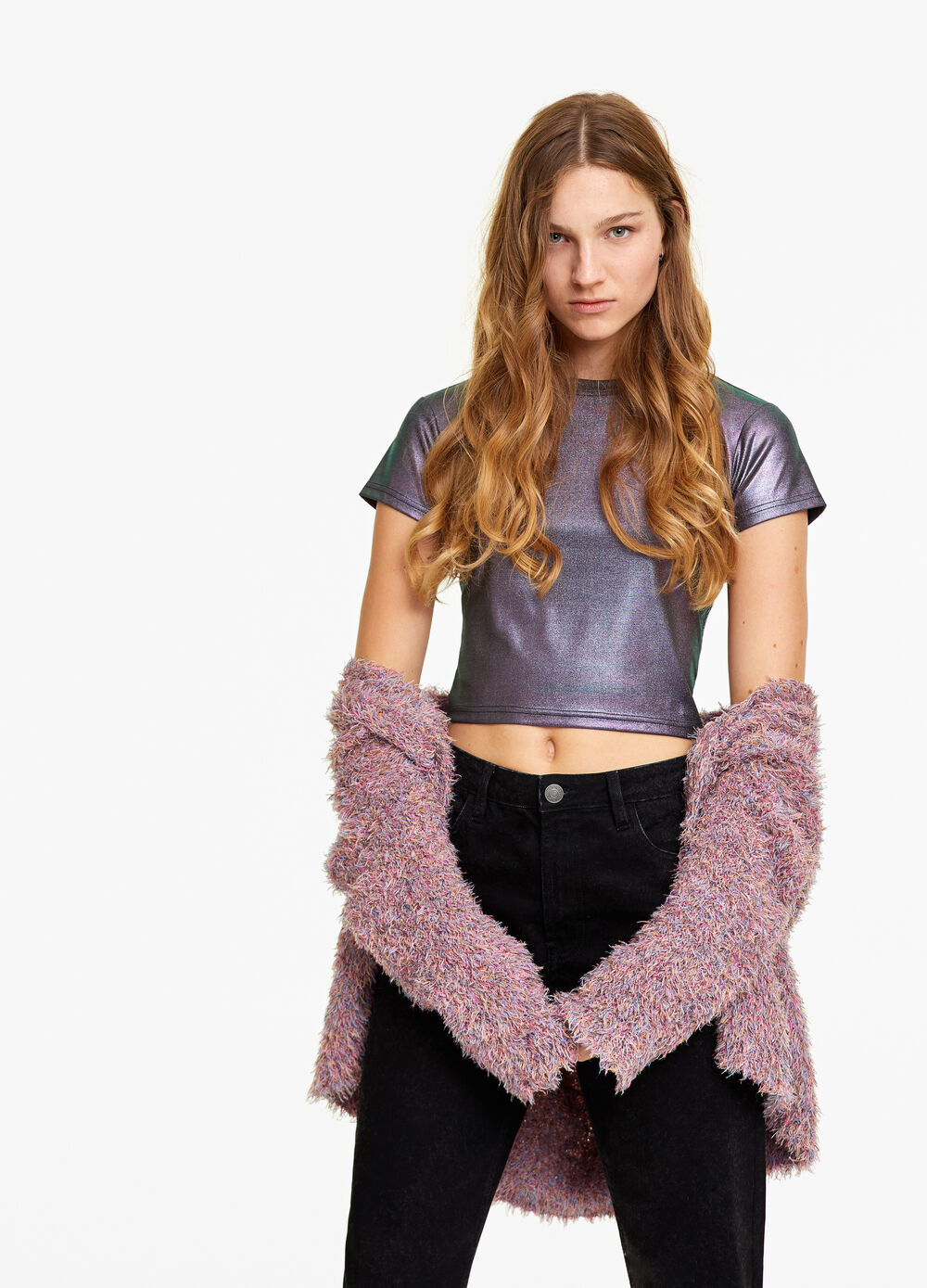 Cropped stretch T-shirt with laminated effect