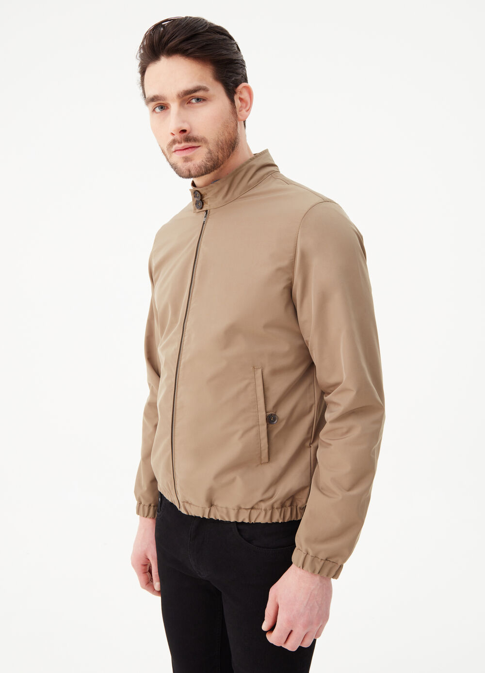 Jacket with high neck and welt pocket