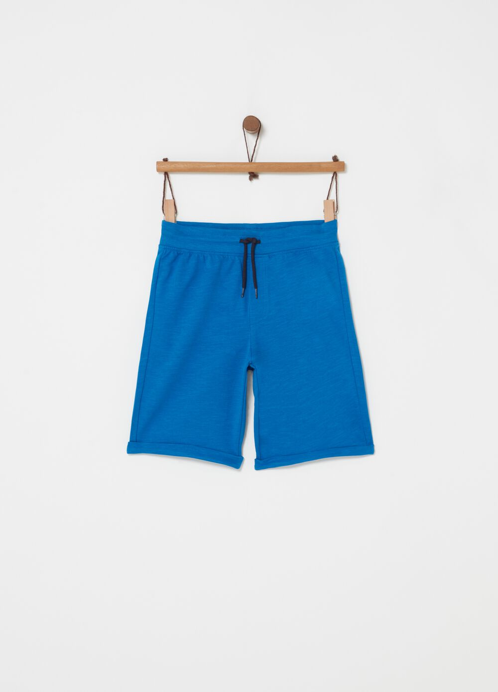 French terry Bermuda shorts with drawstring