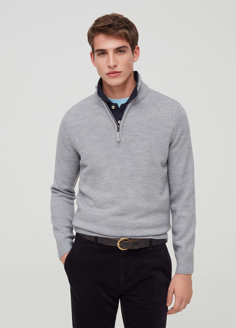 High-necked pullover with zip image number null
