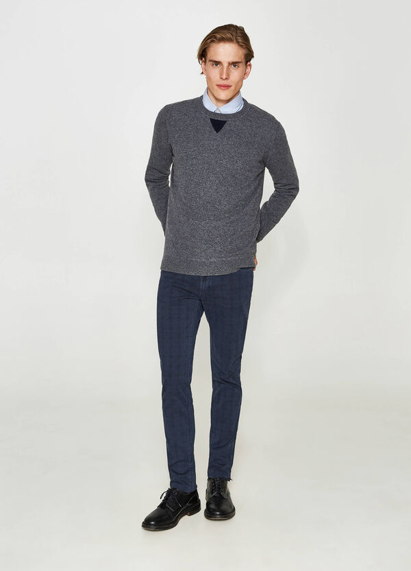 Wool blend pullover with insert