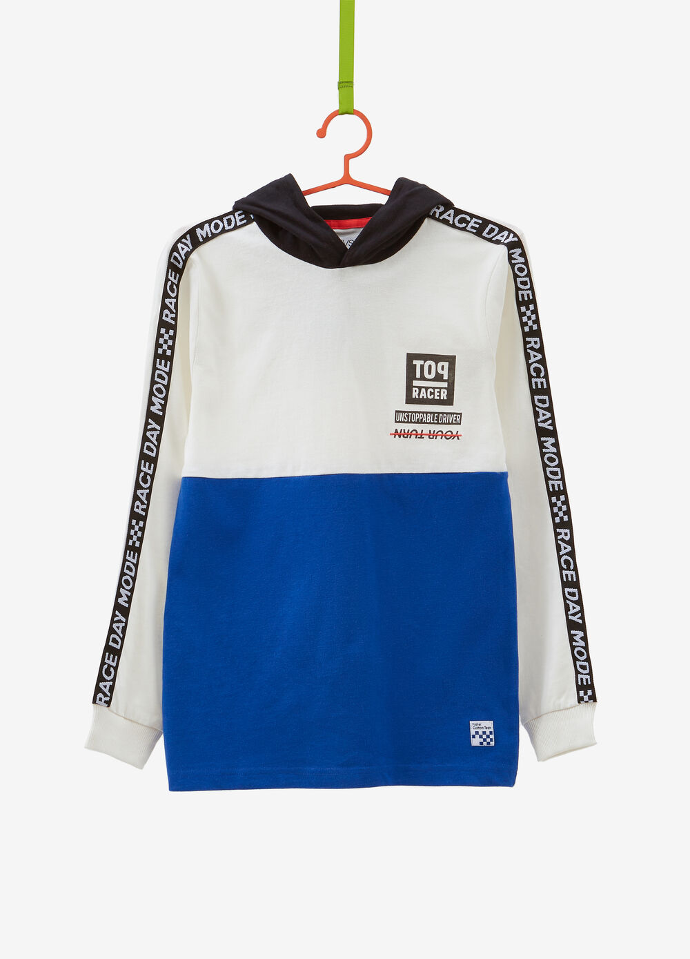 100% cotton two-tone T-shirt with hood