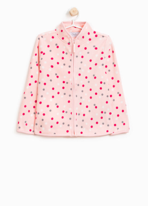 Polka dot patterned fleece sweatshirt | OVS