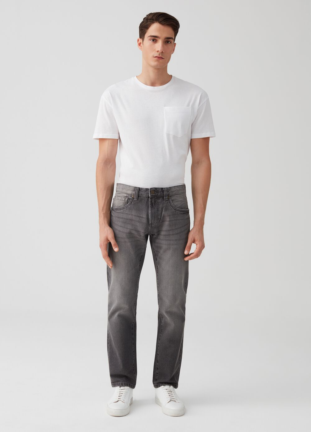 Straight-fit trousers in washed denim