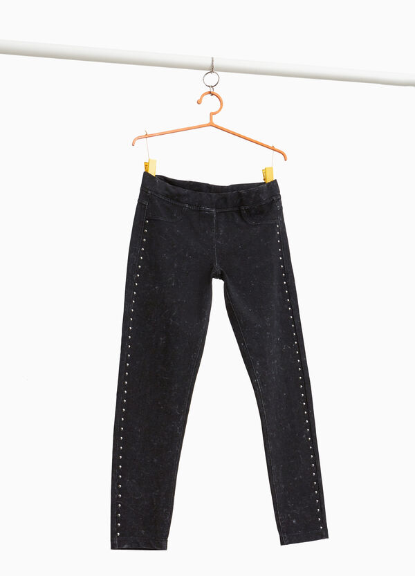 Jeggings with misdyed effect and studs