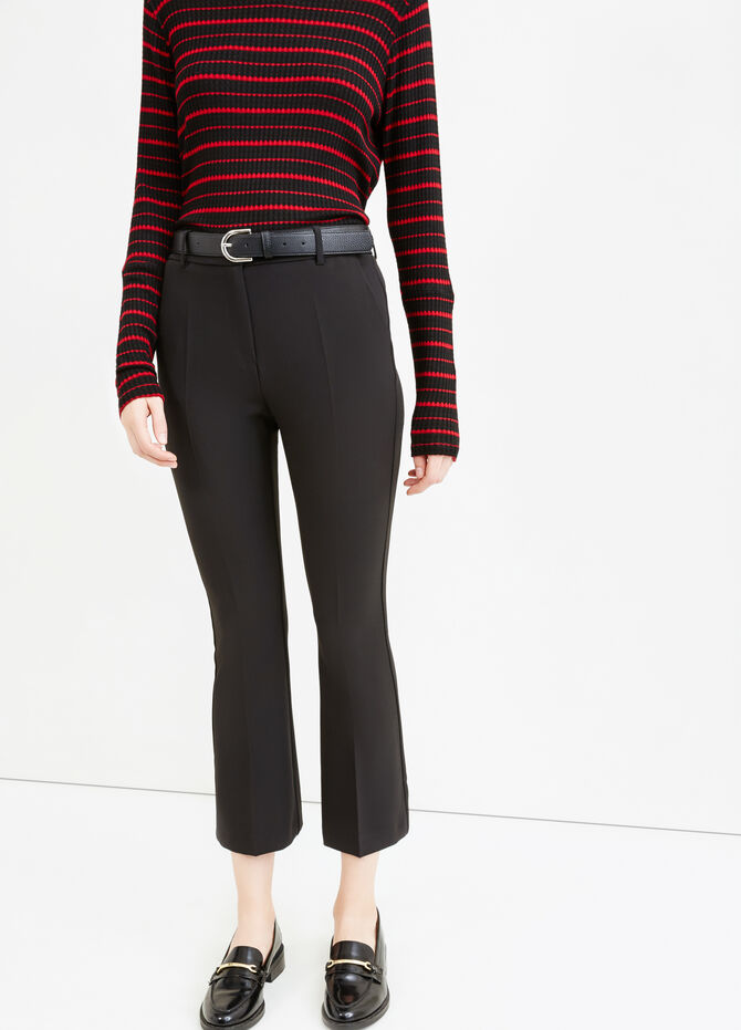 Stretch cropped flared trousers