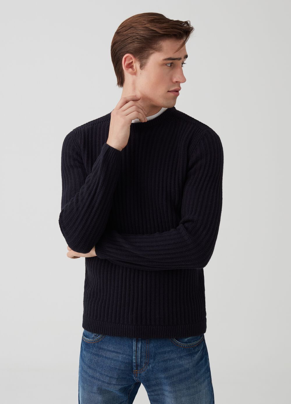 Wide ribbed knit pullover