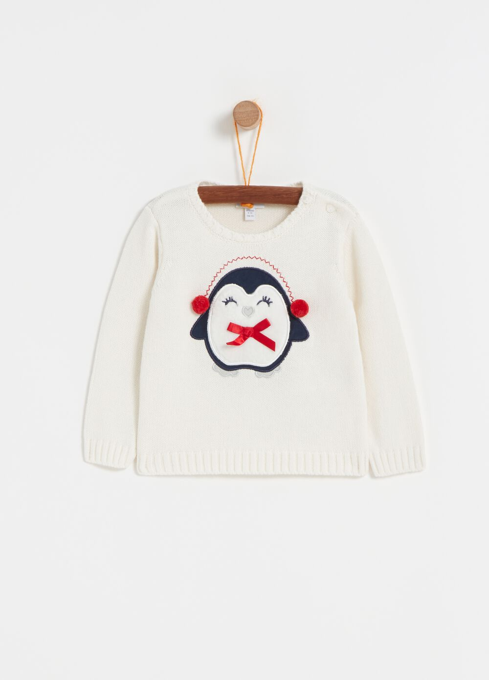 Knitted top with penguin embroidery