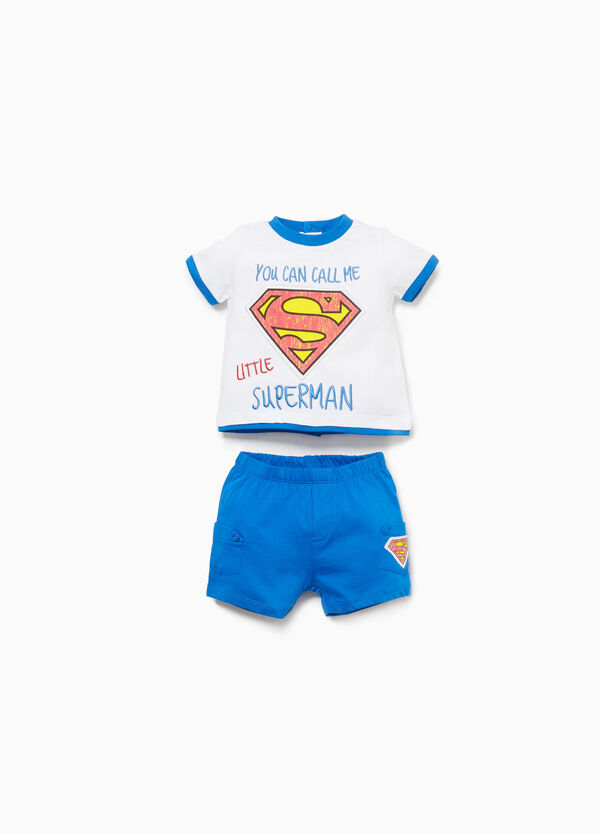 100% cotton outfit with Superman patch