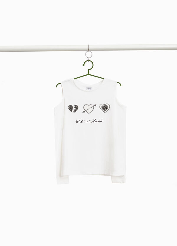 T-shirt with openings and sequins