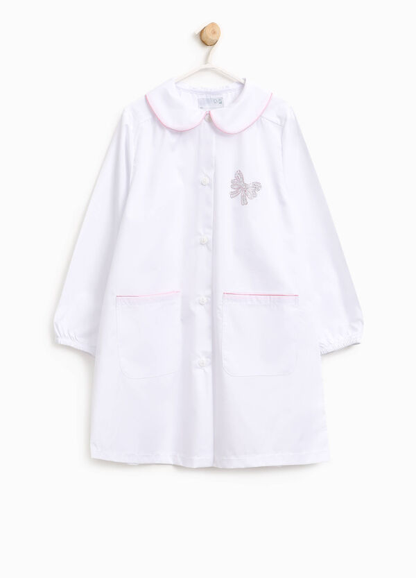 Cotton blend smock with bow-shaped diamantés | OVS