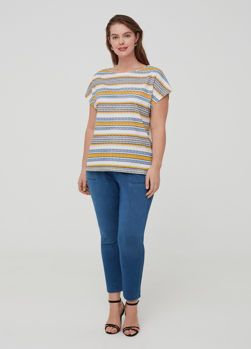 Curvy 100% organic cotton T-shirt with stripes image number null