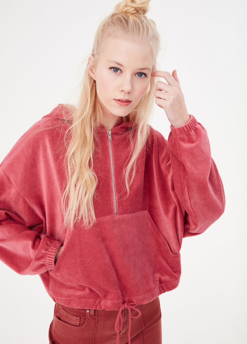 Anorak-effect sweatshirt with hood