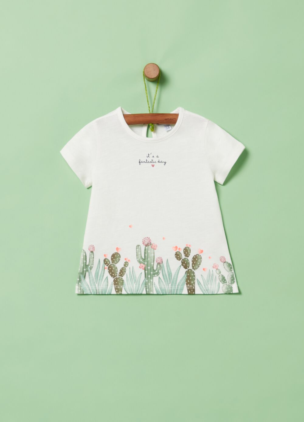 100% organic cotton T-shirt with cactus print