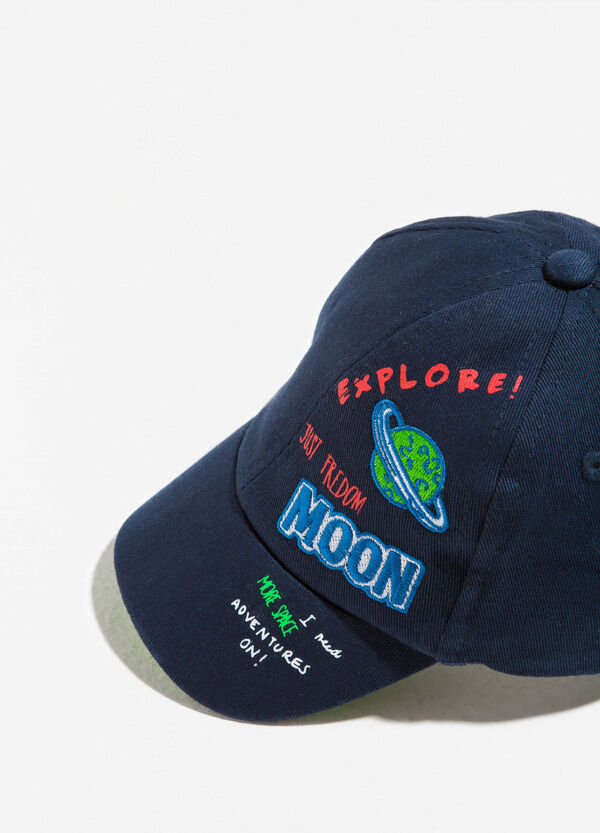 Cotton baseball cap with print