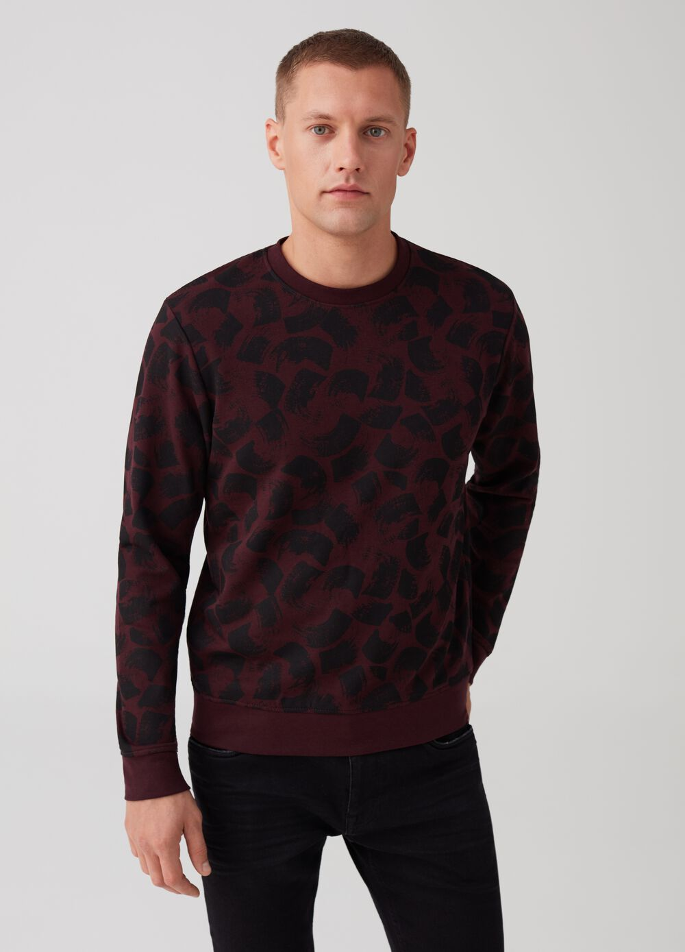 Sweatshirt with round neck and print