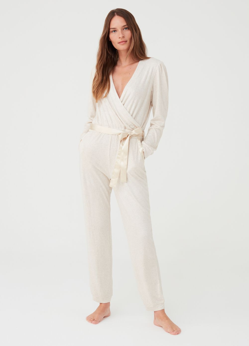 Sleepsuit with satin-effect belt