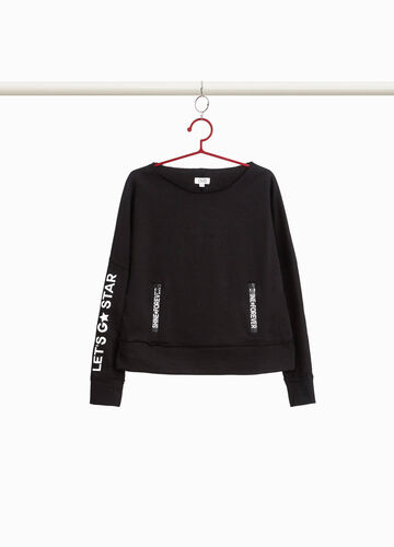 Cotton sweatshirt with opening and print