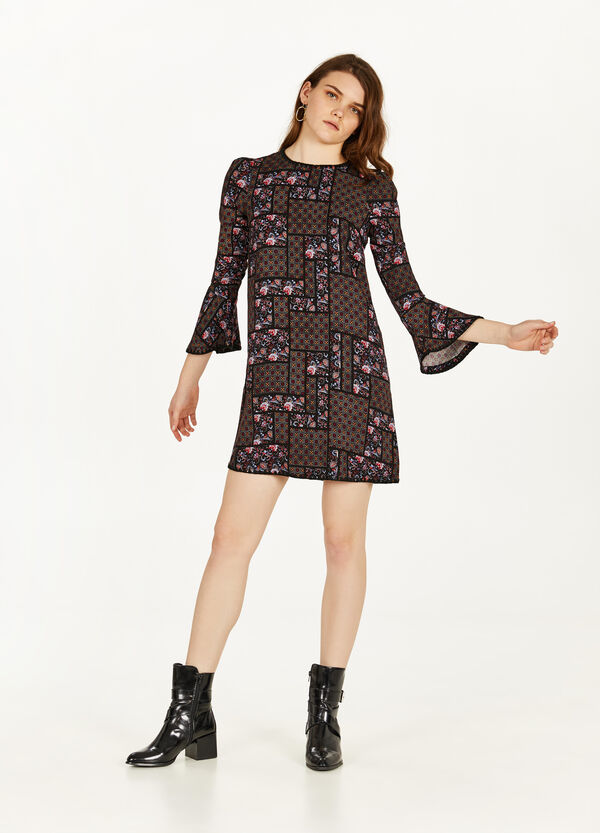 100% viscose dress with all-over print