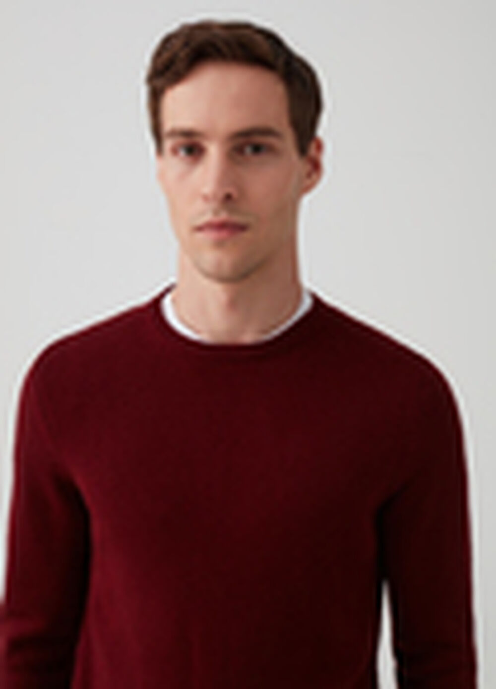 Knitted pullover with ribbing