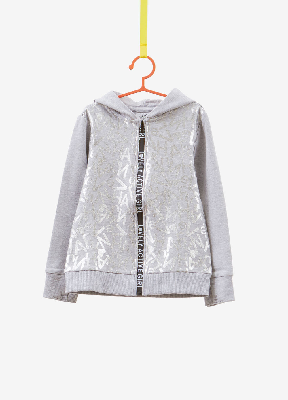 Sweatshirt in stretch cotton with printed lettering