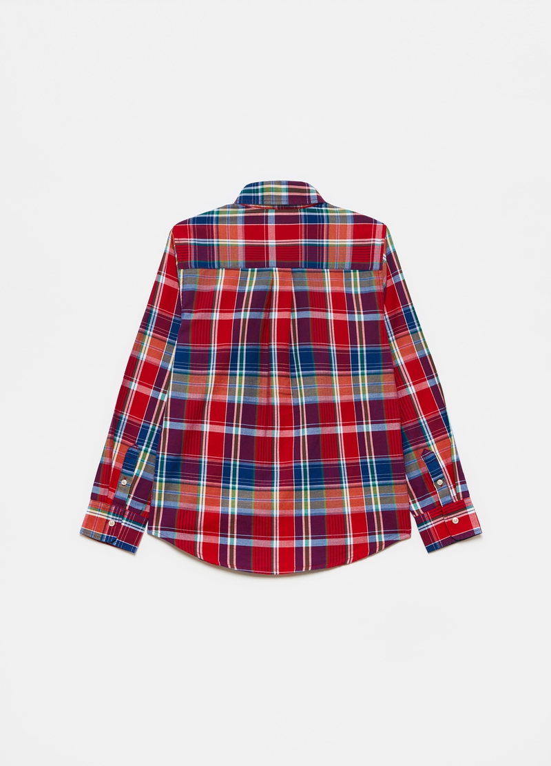 Shirt with button-down collar and check pattern image number null