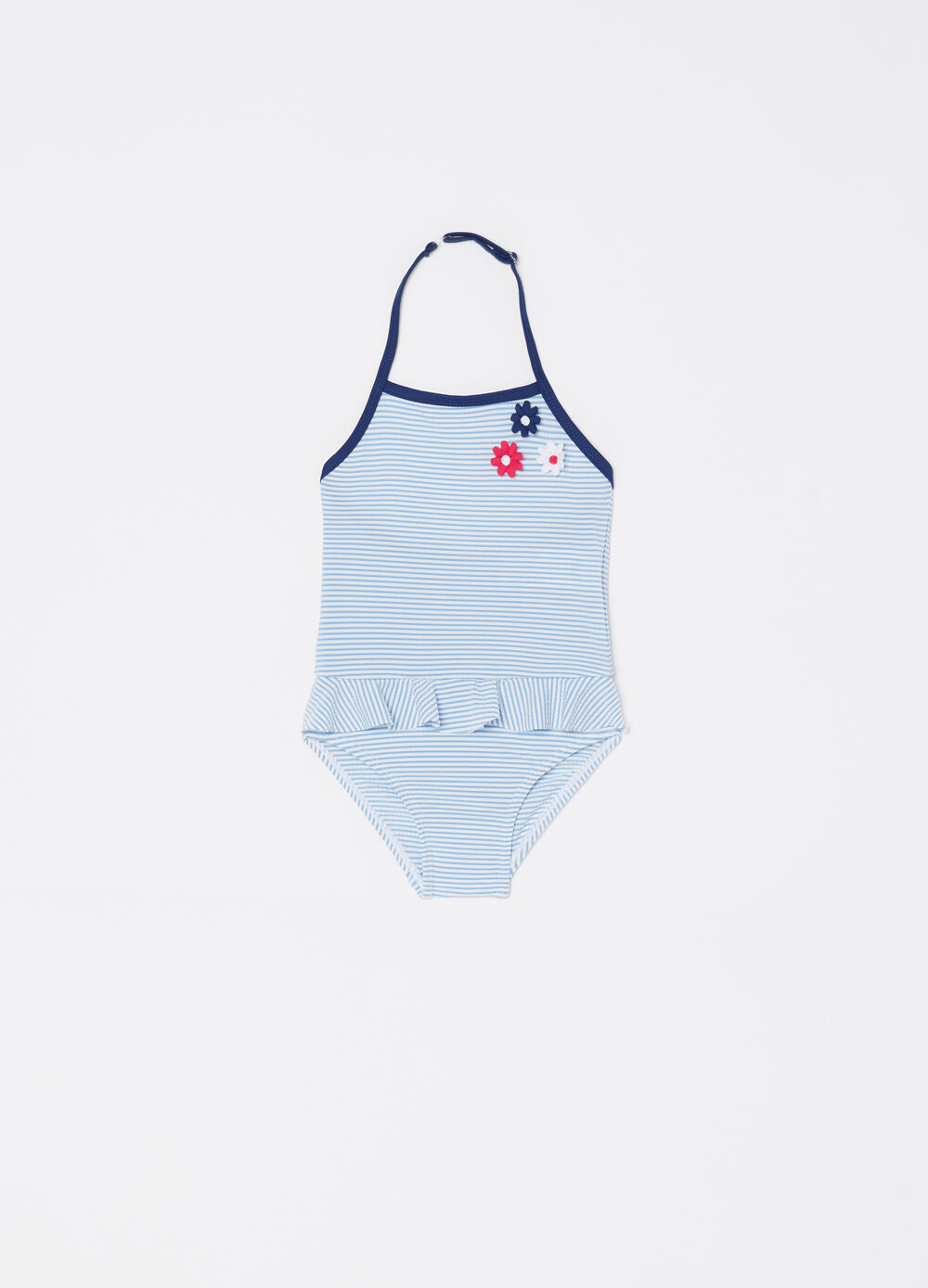 One-piece swimsuit with striped pattern and flowers