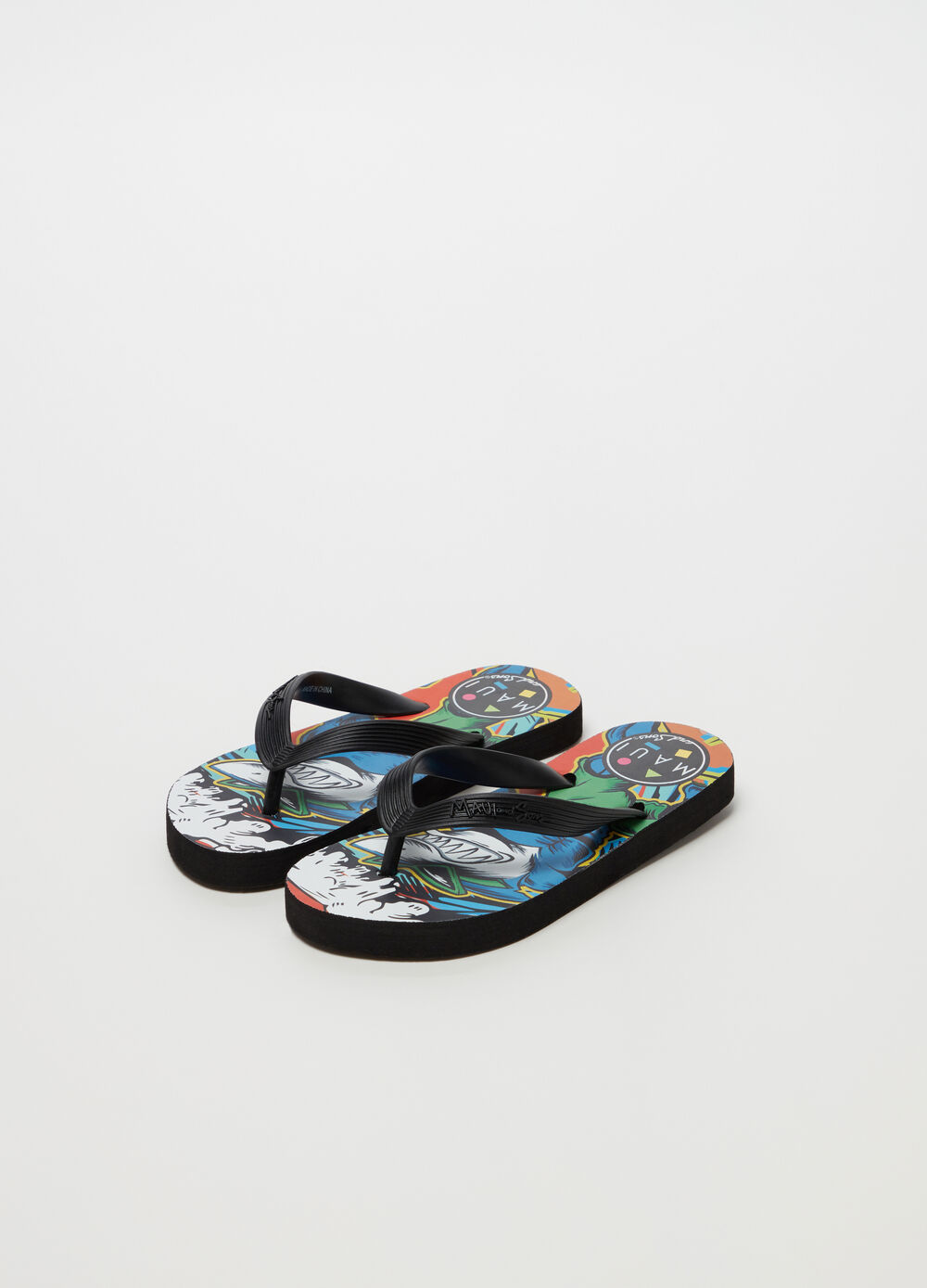 Shark man print flip flops by Maui and Sons