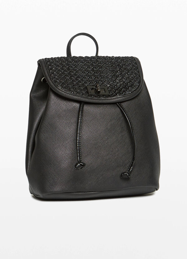 Saffiano-effect backpack with knitted flap