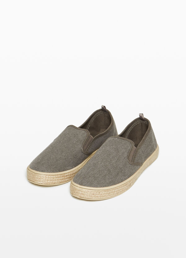 Slip-ons with woven canvas upper