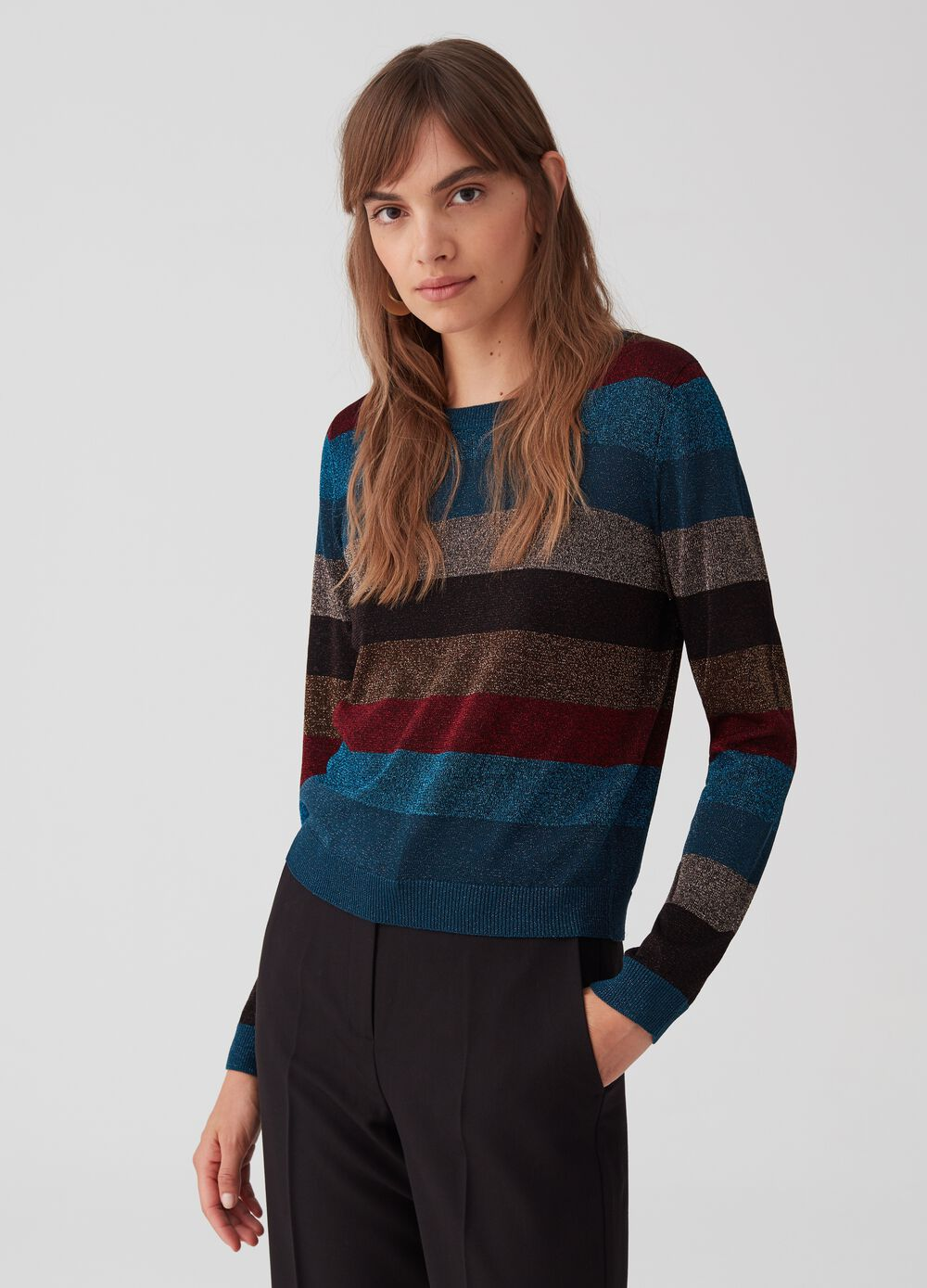 Pullover with striped patterned lurex