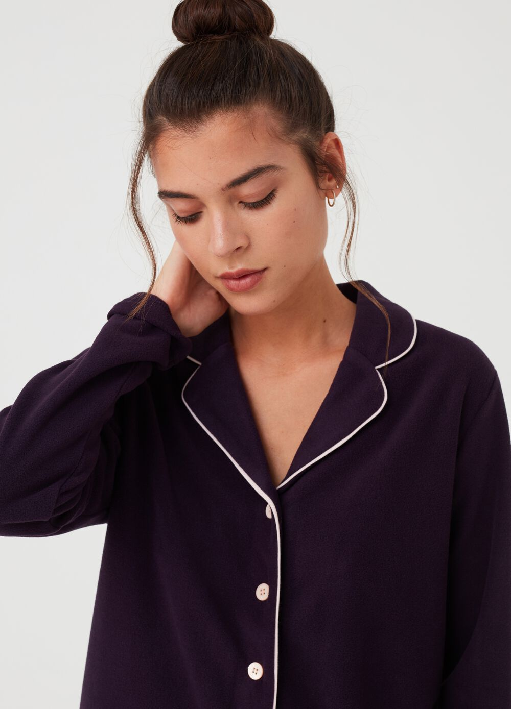 Long-sleeved pyjama top with buttons