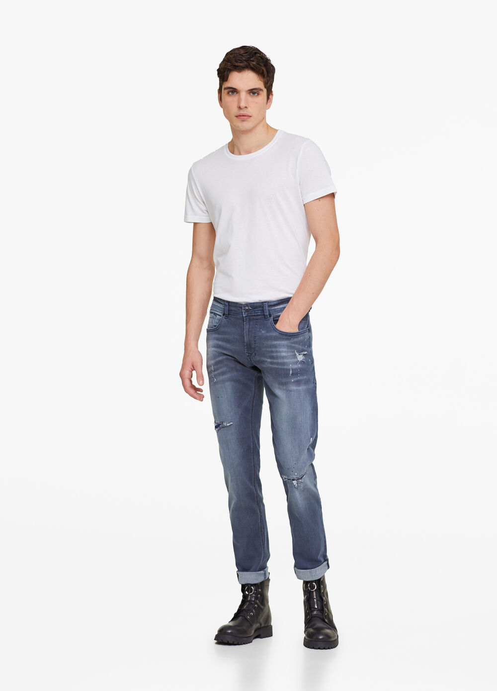 Slim-fit worn-effect jeans with rips
