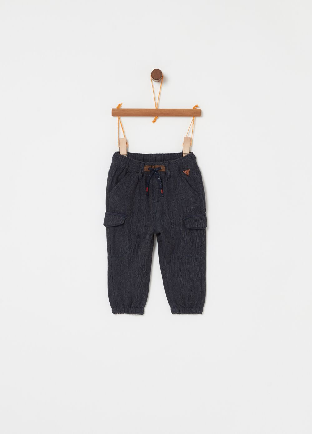 Brushed cotton jogger trousers with drawstring