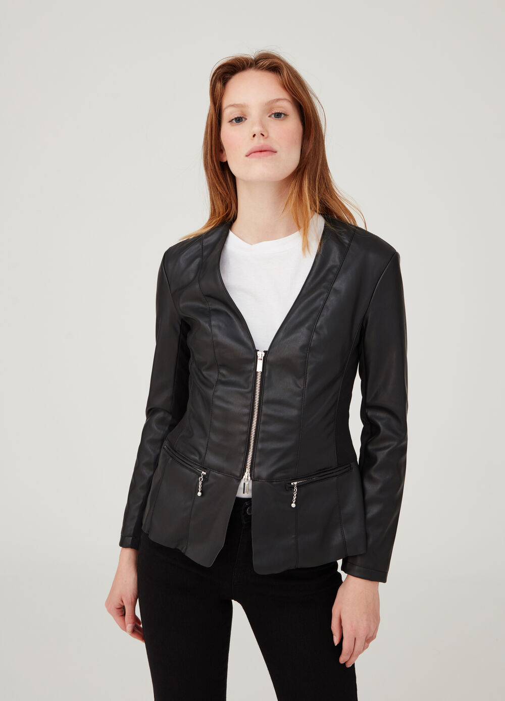 Leather-look V-neck jacket