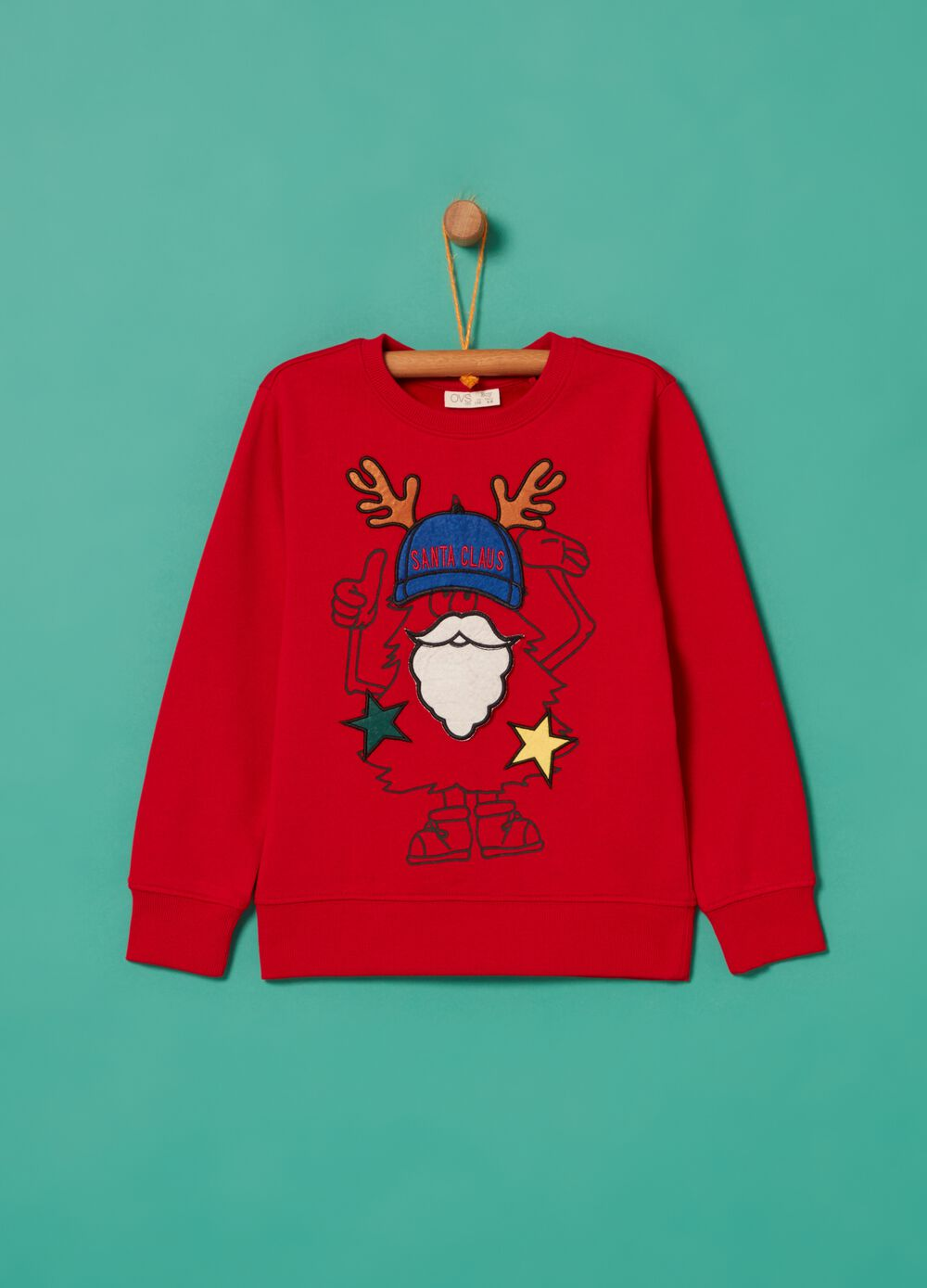 100% cotton sweatshirt with Father Christmas embroidery