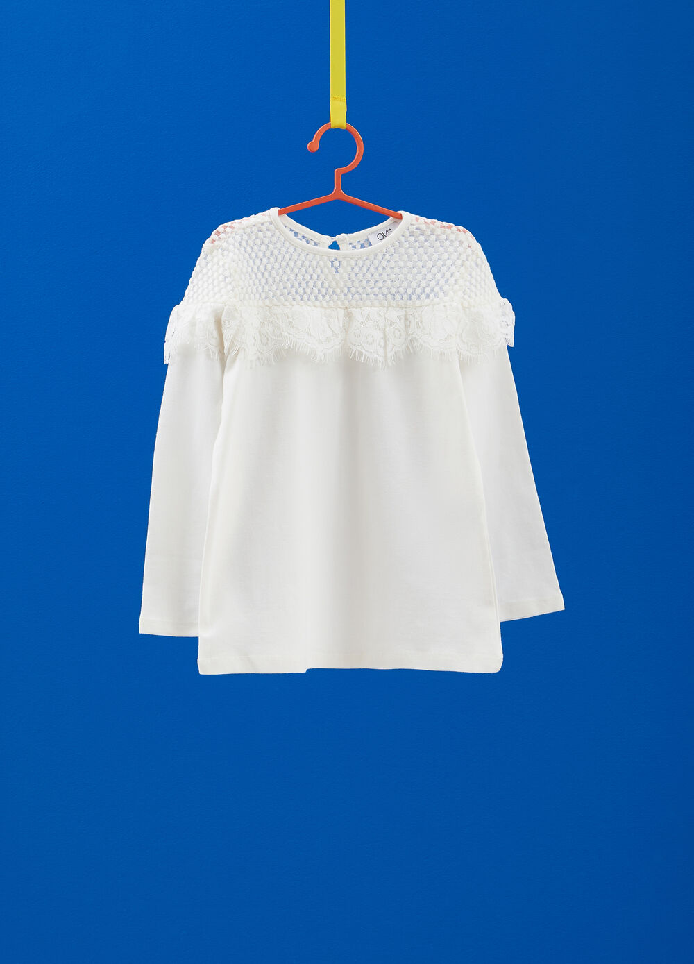 Stretch cotton T-shirt with with insert and lace