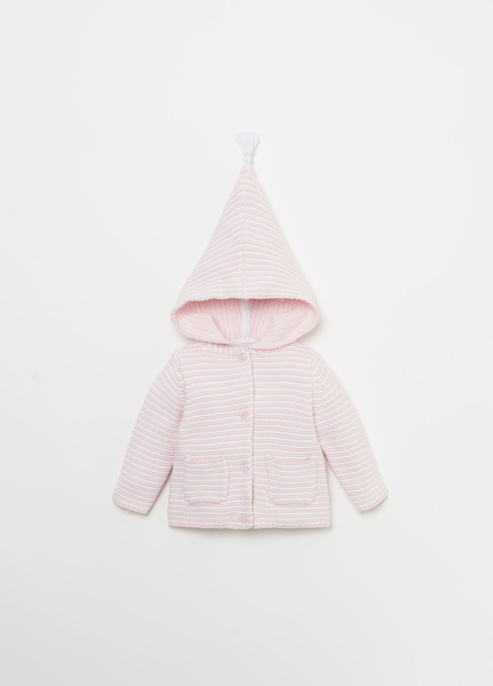 Cotton cardigan with striped hood